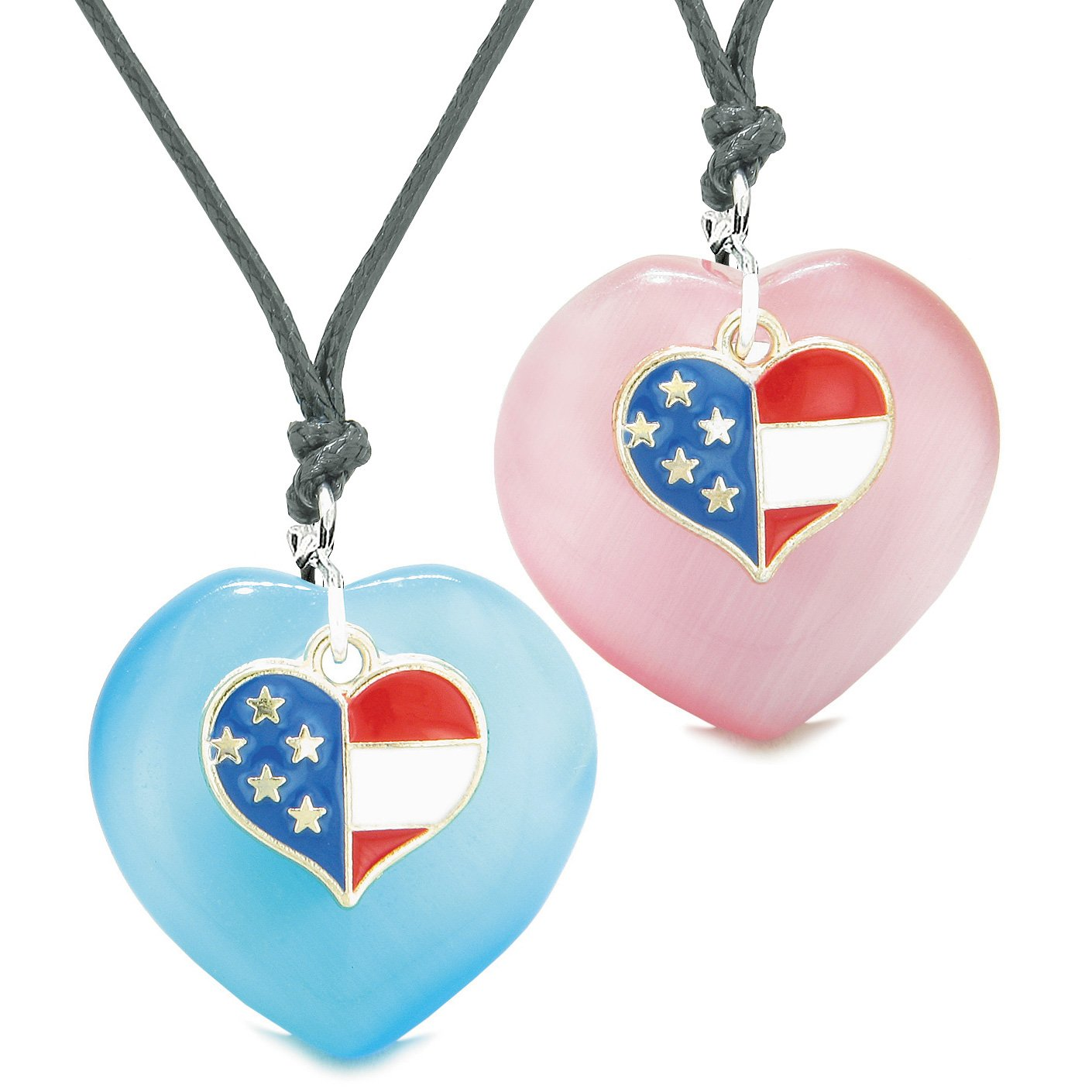Proud USA Flag Super Heart Charm Love Couples BFF Set Blue Pink Simulated Cats Eye Amulet Cord Necklaces