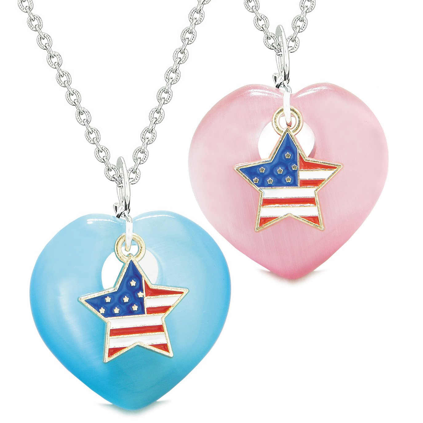Proud USA Flag Super Star Charm Love Couples or BFF Set Blue Pink Simulated Cats Eye Amulet Necklaces