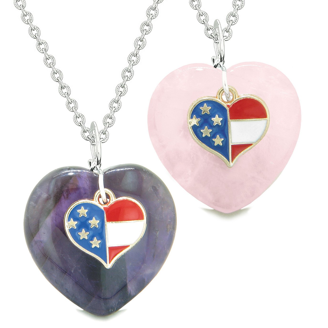Proud USA Flag Super Heart Charm Love Couples or BFF Set Purple and Rose Quartz Amulet Necklaces