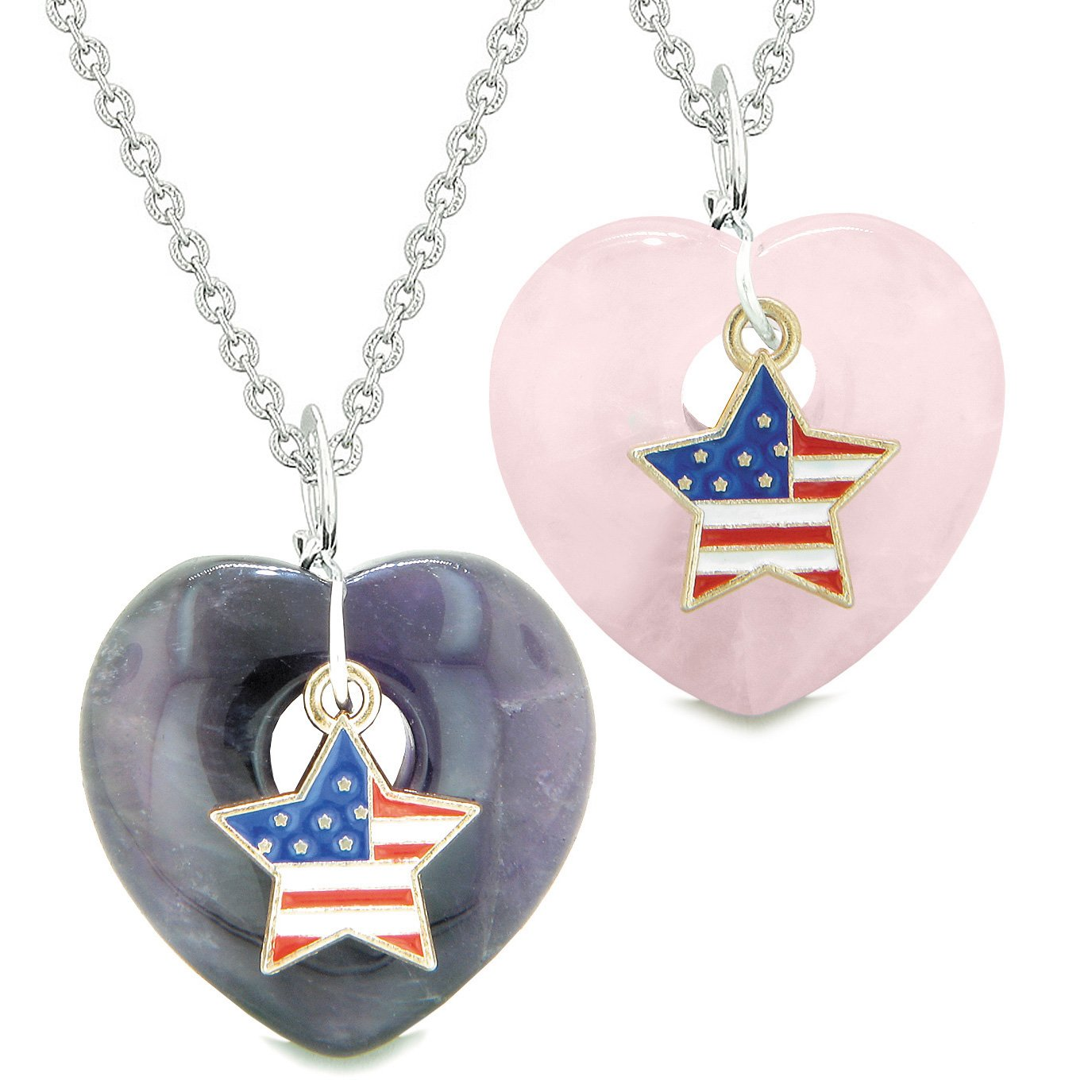 Proud USA Flag Super Star Charm Love Couples or BFF Set Purple and Rose Quartz Amulet Necklaces