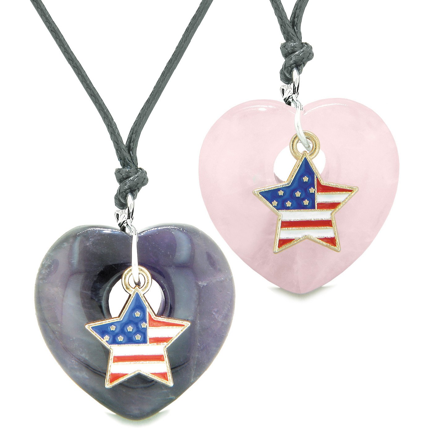 Proud USA Flag Super Star Charm Love Couples or BFF Set Purple and Rose Quartz Amulet Cord Necklaces