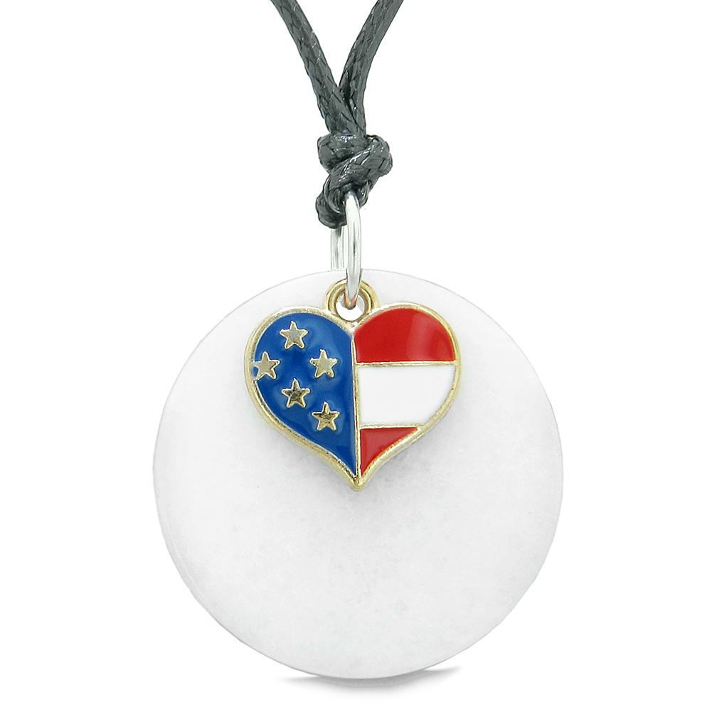 Proud American Flag Spirit Super Heart Lucky Charm White Quartz Spiritual Amulet Adjustable Necklace