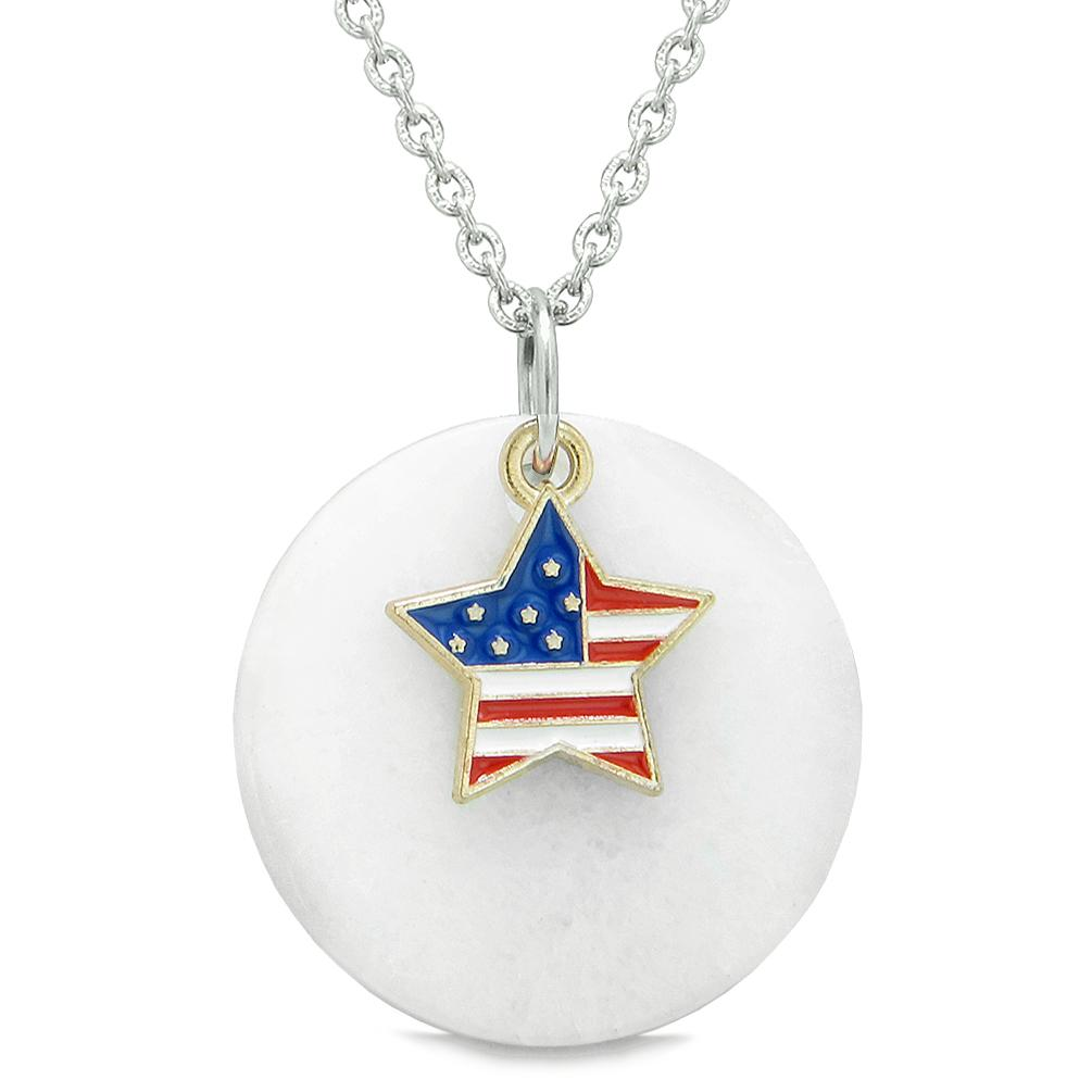 Proud American Flag Spirit Super Star Lucky Charm White Quartz Spiritual Amulet 18 Inch Necklace