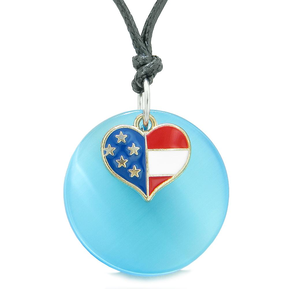 Proud American Flag Spirit Super Heart Charm Blue Simulated Cats Eye Spiritual Amulet Adjustable Necklace