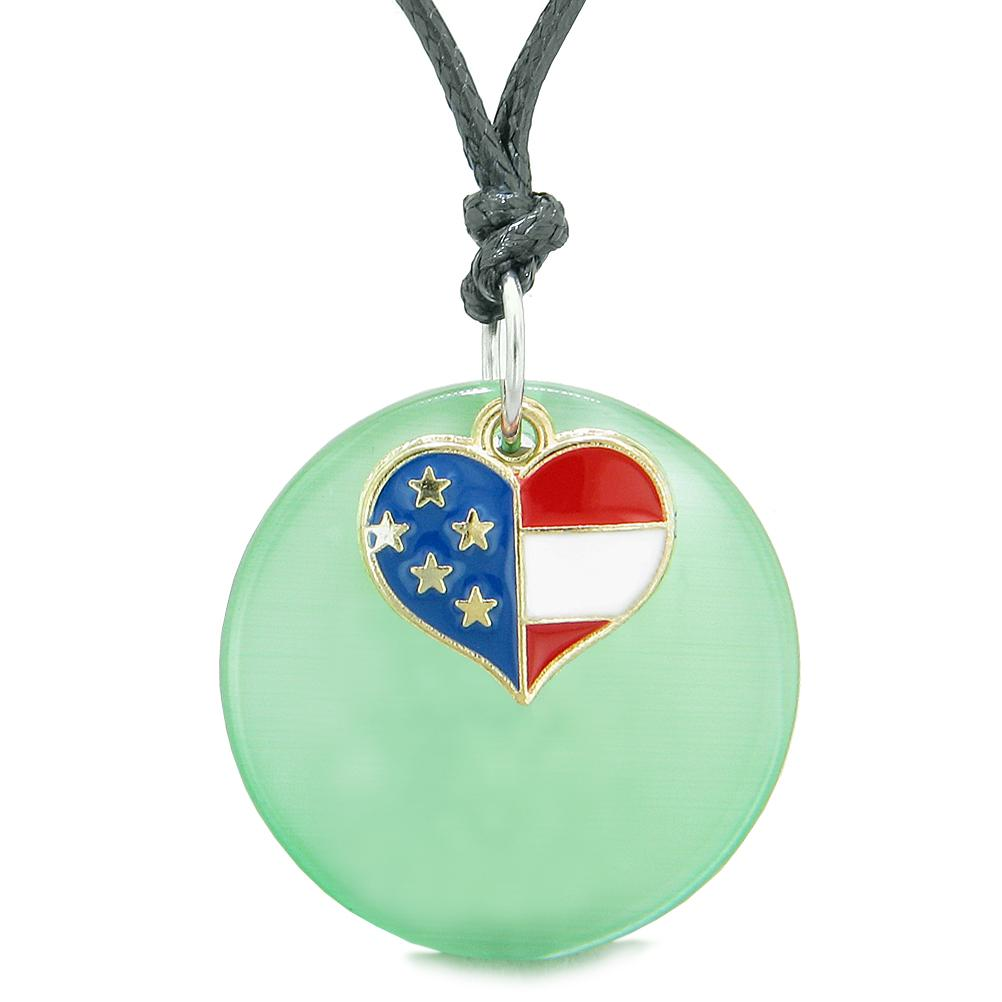 Proud American Flag Spirit Super Heart Charm Green Simulated Cat Eye Spiritual Amulet Adjustable Necklace