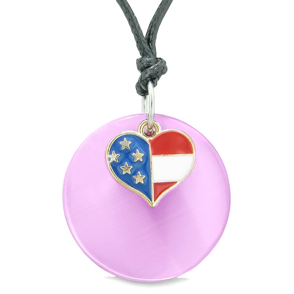 Proud American Flag Spirit Super Heart Charm Pink Simulated Cats Eye Spiritual Amulet Adjustable Necklace