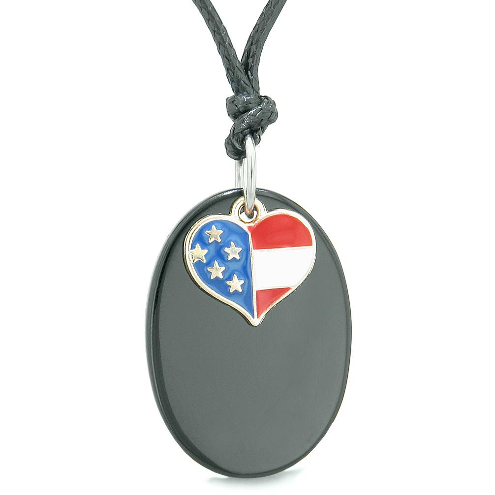 Proud American Flag Spirit Cute Super Heart Lucky Charm Black Agate Spiritual Amulet Adjustable Necklace