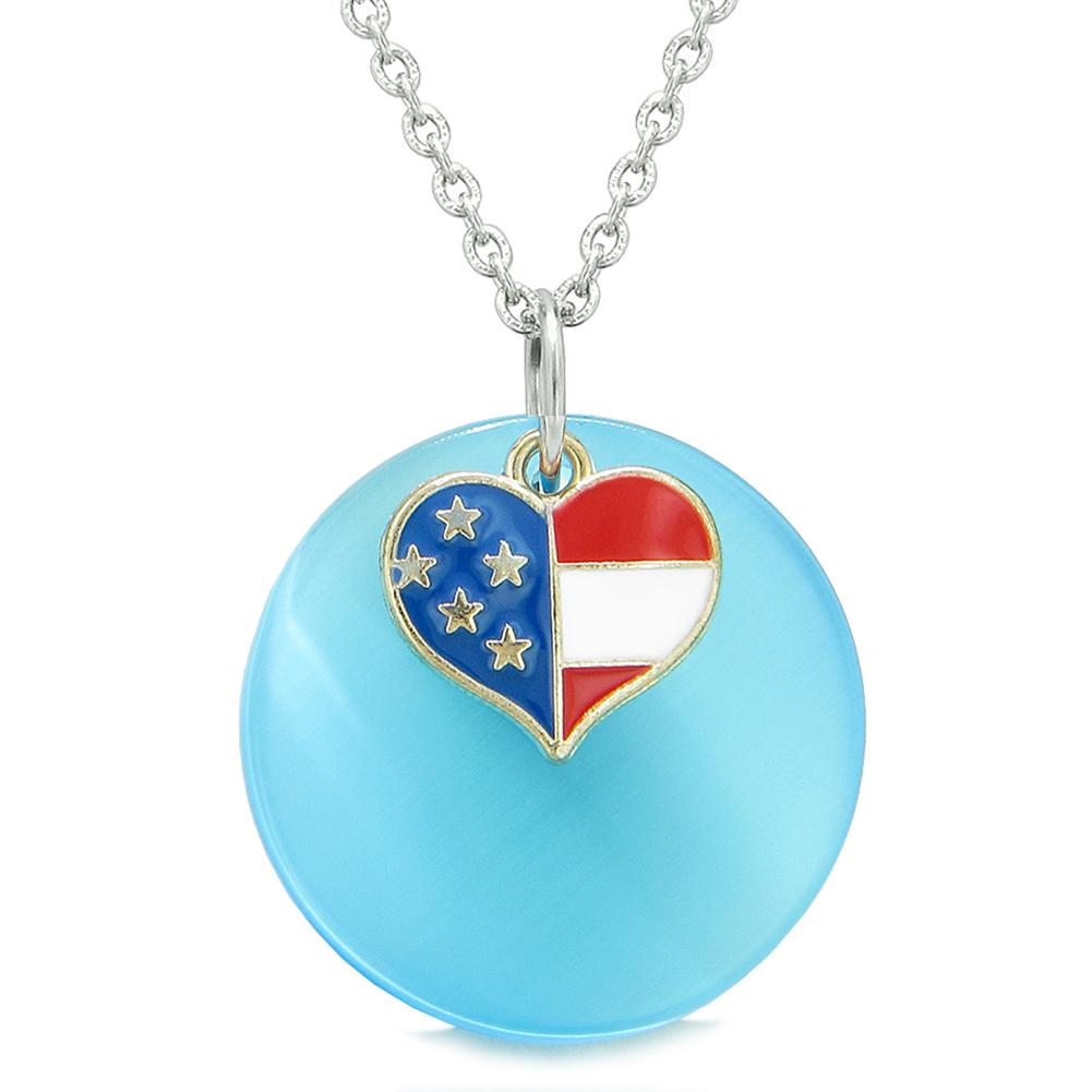 Proud American Flag Spirit Super Heart Charm Blue Simulated Cats Eye Spiritual Amulet 22 Inch Necklace
