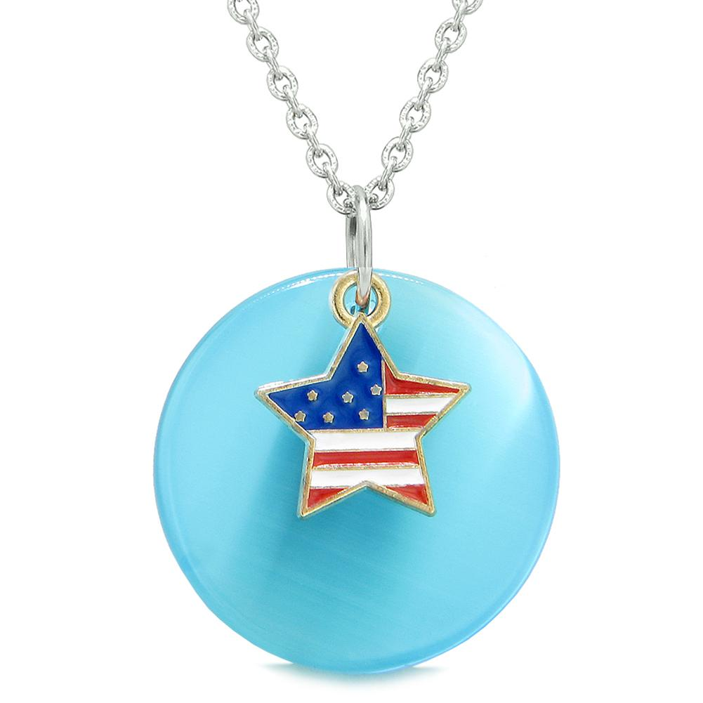 Proud American Flag Spirit Super Star Charm Blue Simulated Cats Eye Spiritual Amulet 22 Inch Necklace