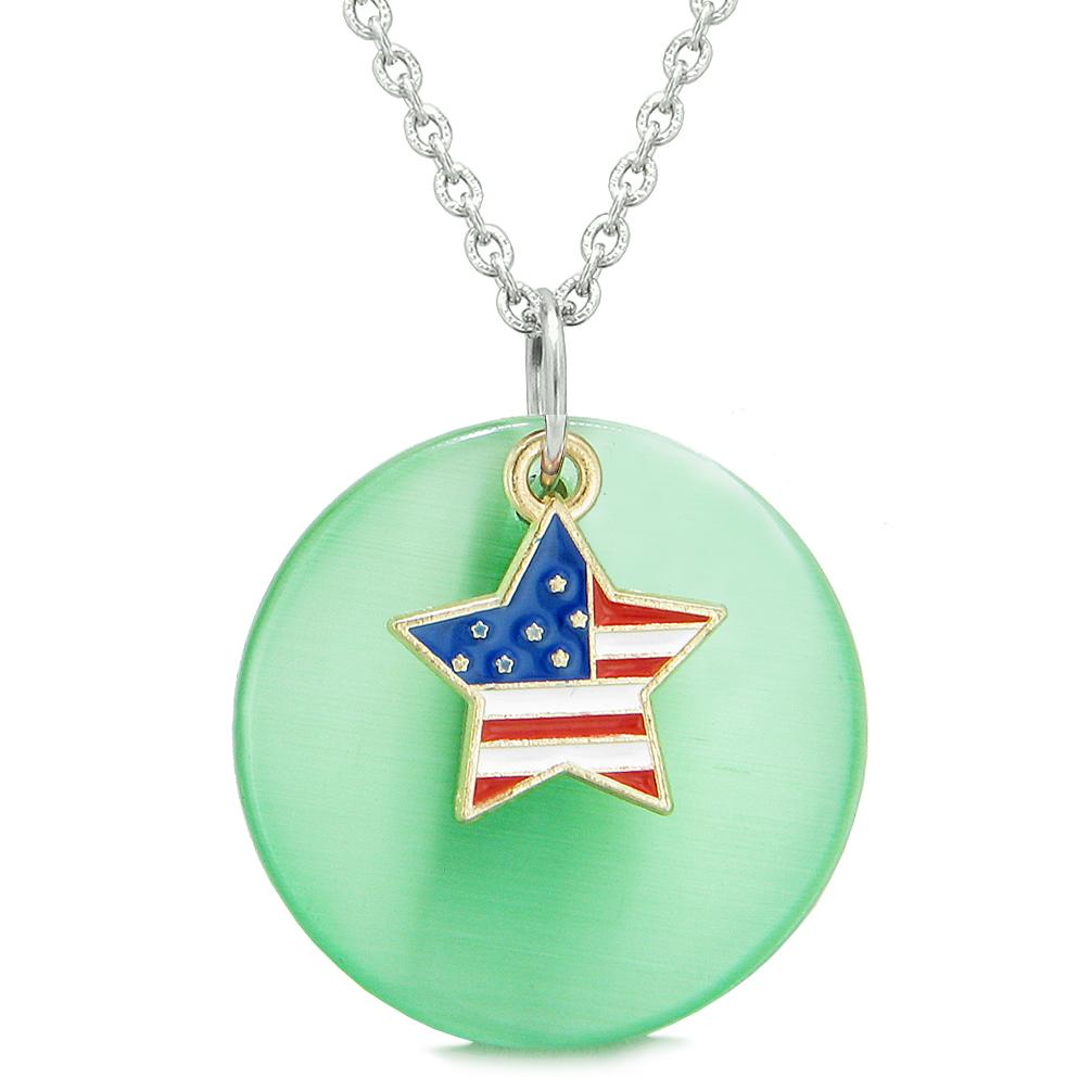 Proud American Flag Spirit Super Star Charm Green Simulated Cats Eye Spiritual Amulet 18 Inch Necklace
