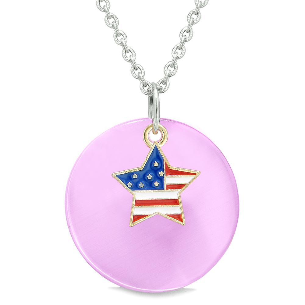 Proud American Flag Spirit Super Star Charm Pink Simulated Cats Eye Spiritual Amulet 22 Inch Necklace