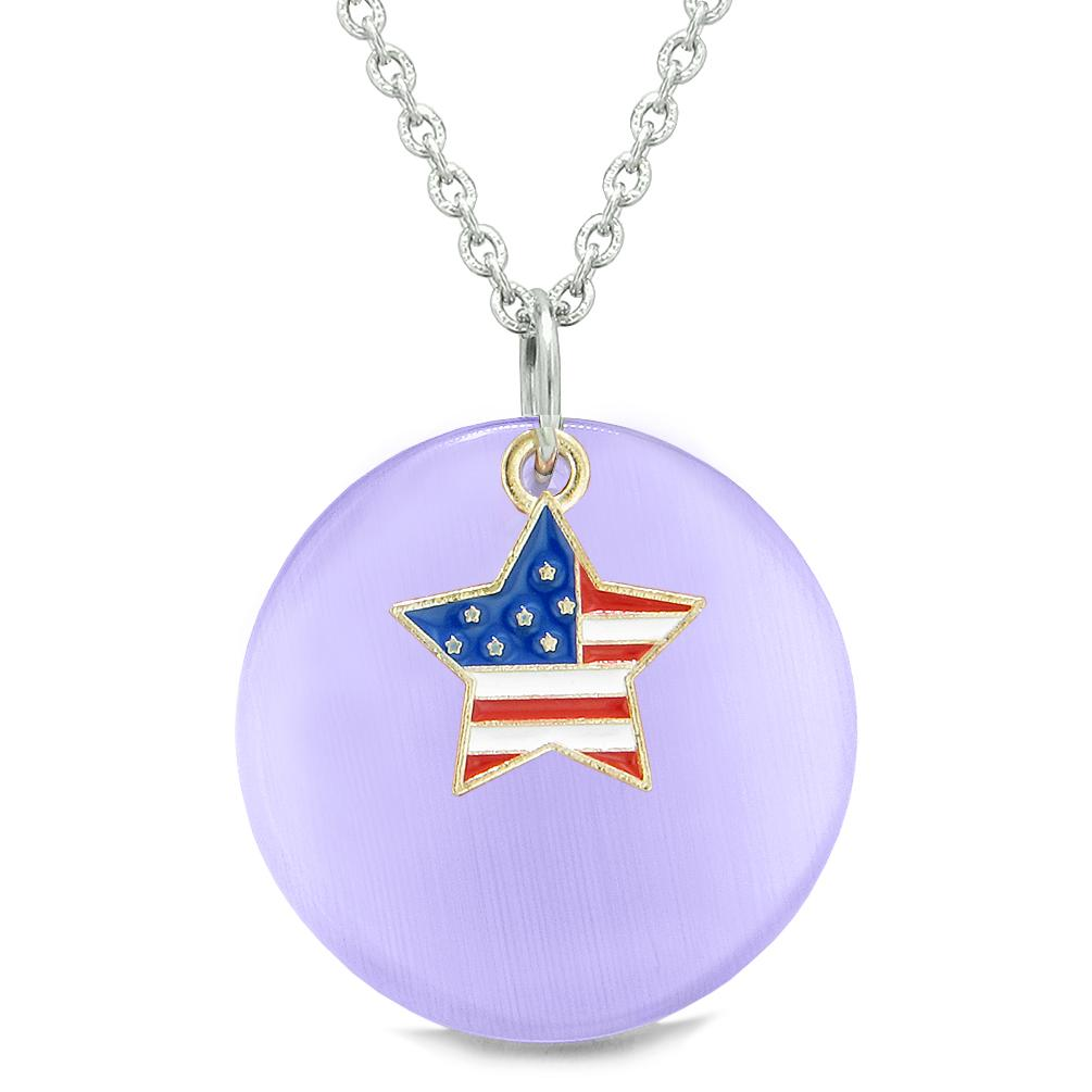 Proud American Flag Spirit Super Star Charm Purple Simulated Cats Eye Spiritual Amulet 18 Inch Necklace