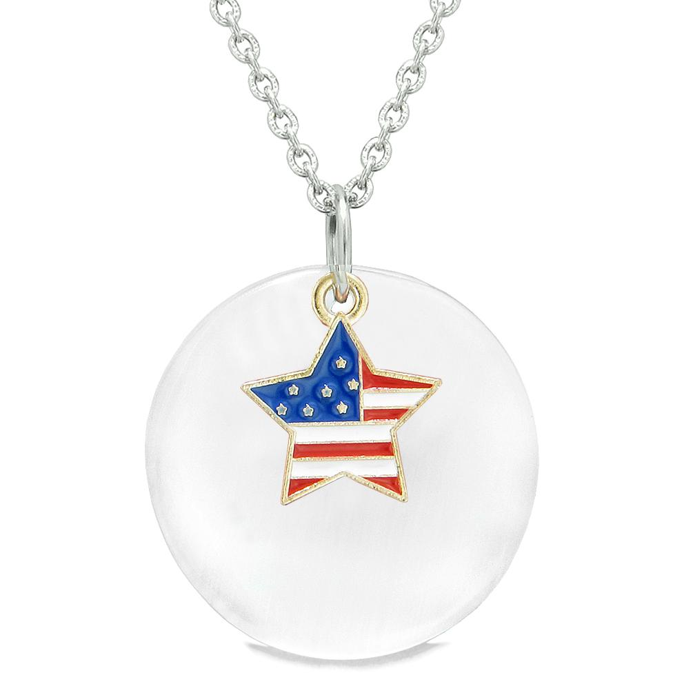 Proud American Flag Spirit Super Star Charm White Simulated Cats Eye Spiritual Amulet 18 Inch Necklace