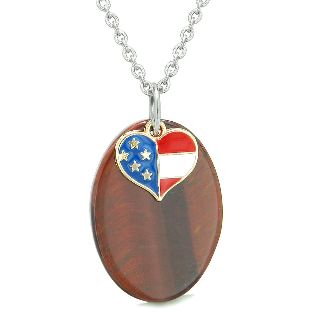 Proud American Flag Spirit Cute Super Heart Lucky Charm Red Tiger Eye Spiritual Amulet 18 Inch Necklace
