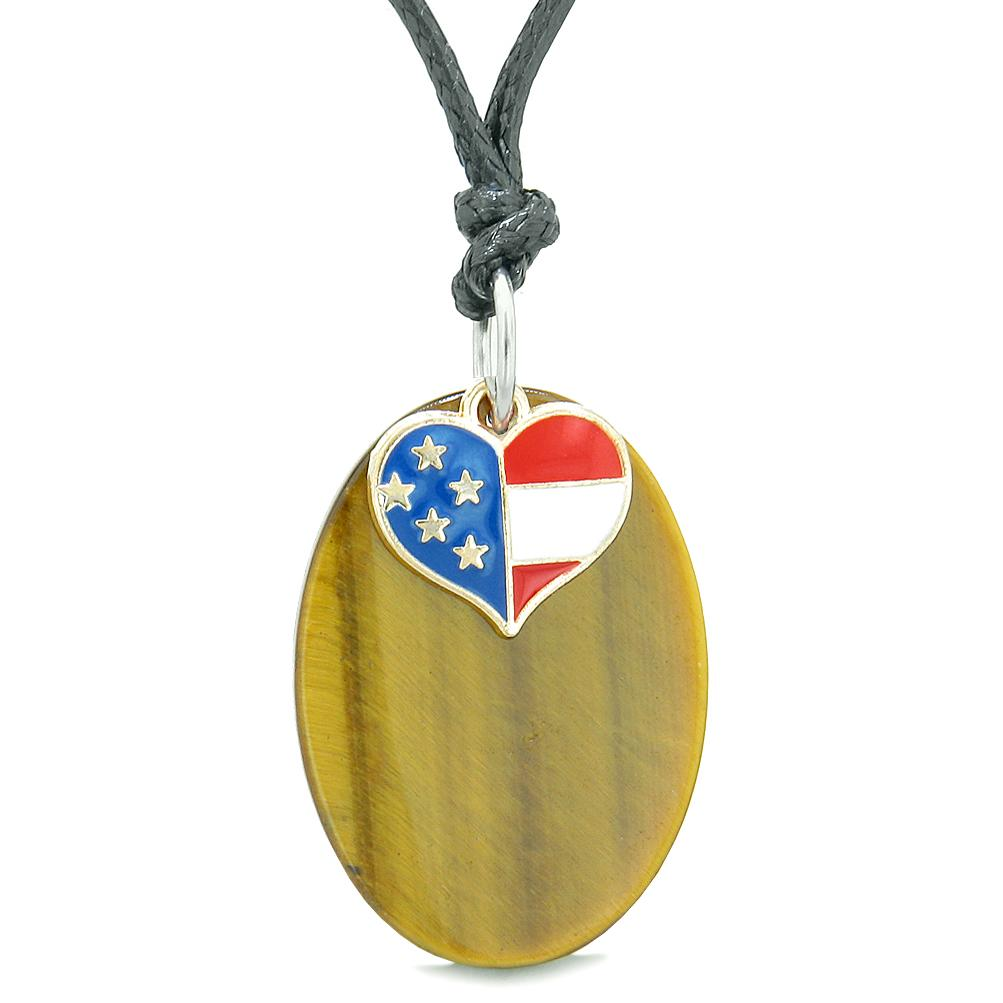 Proud American Flag Spirit Cute Super Heart Lucky Charm Tiger Eye Spiritual Amulet Adjustable Necklace