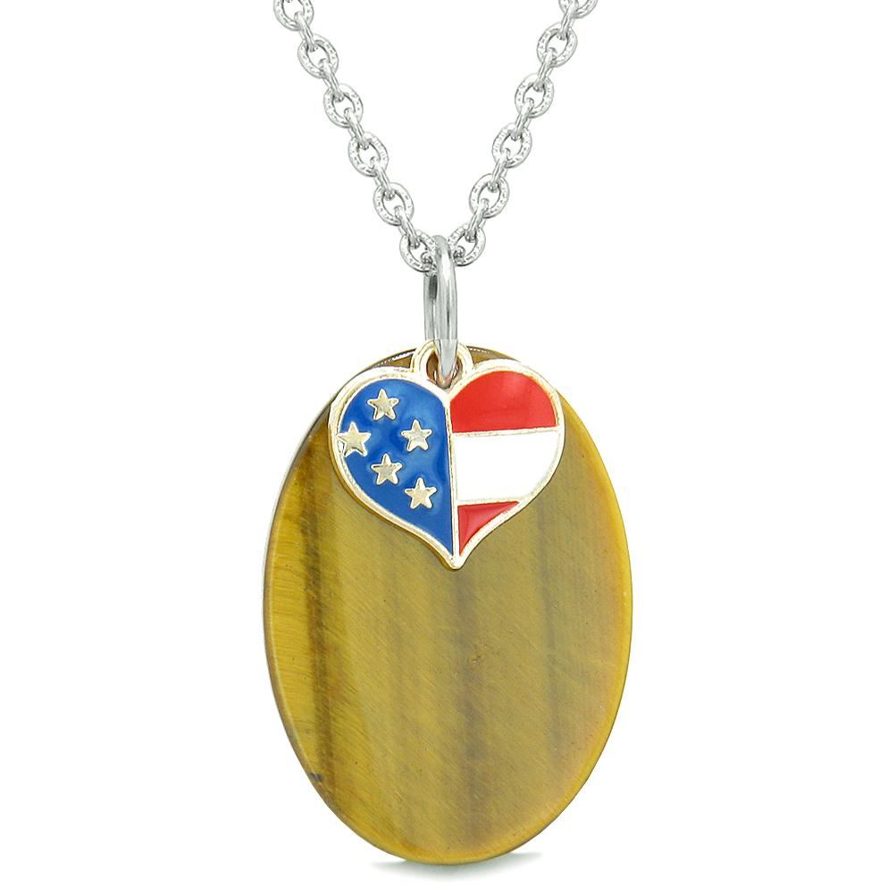 Proud American Flag Spirit Cute Super Heart Lucky Charm Tiger Eye Spiritual Amulet 22 Inch Necklace