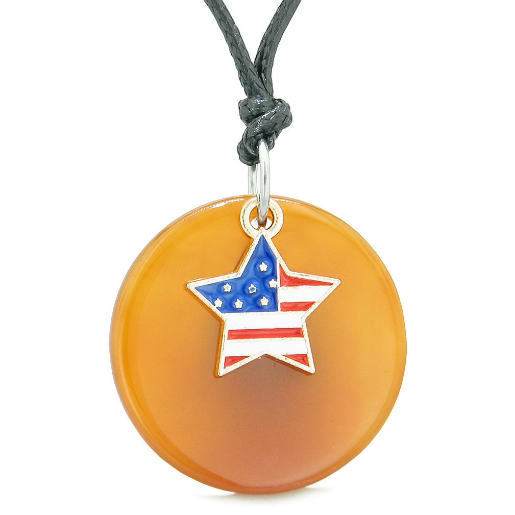 Proud American Flag Spirit Super Star Lucky Charm Carnelian Spiritual Amulet Adjustable Necklace