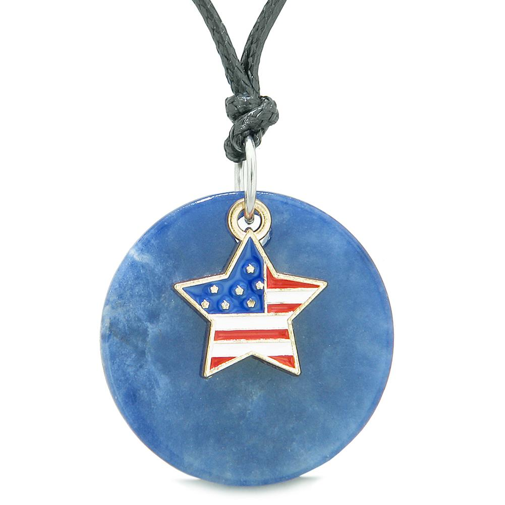 Proud American Flag Spirit Super Star Lucky Charm Sodalite Spiritual Amulet Adjustable Necklace