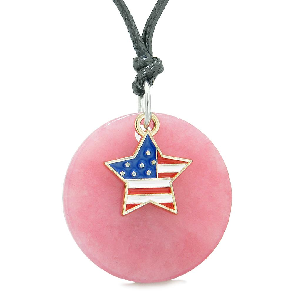 Proud American Flag Spirit Super Star Lucky Charm Pink Quartz Spiritual Amulet Adjustable Necklace