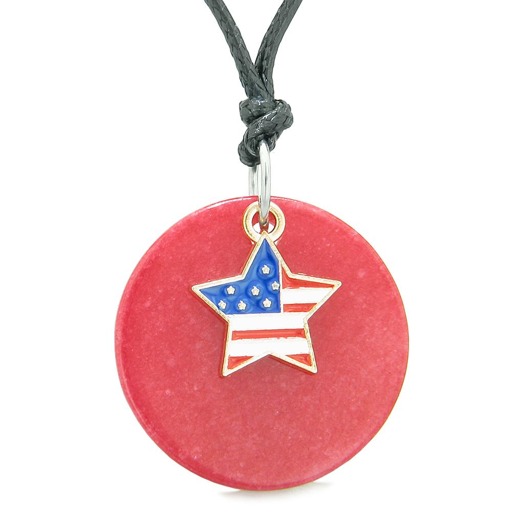 Proud American Flag Spirit Super Star Lucky Charm Red Quartz Spiritual Amulet Adjustable Necklace