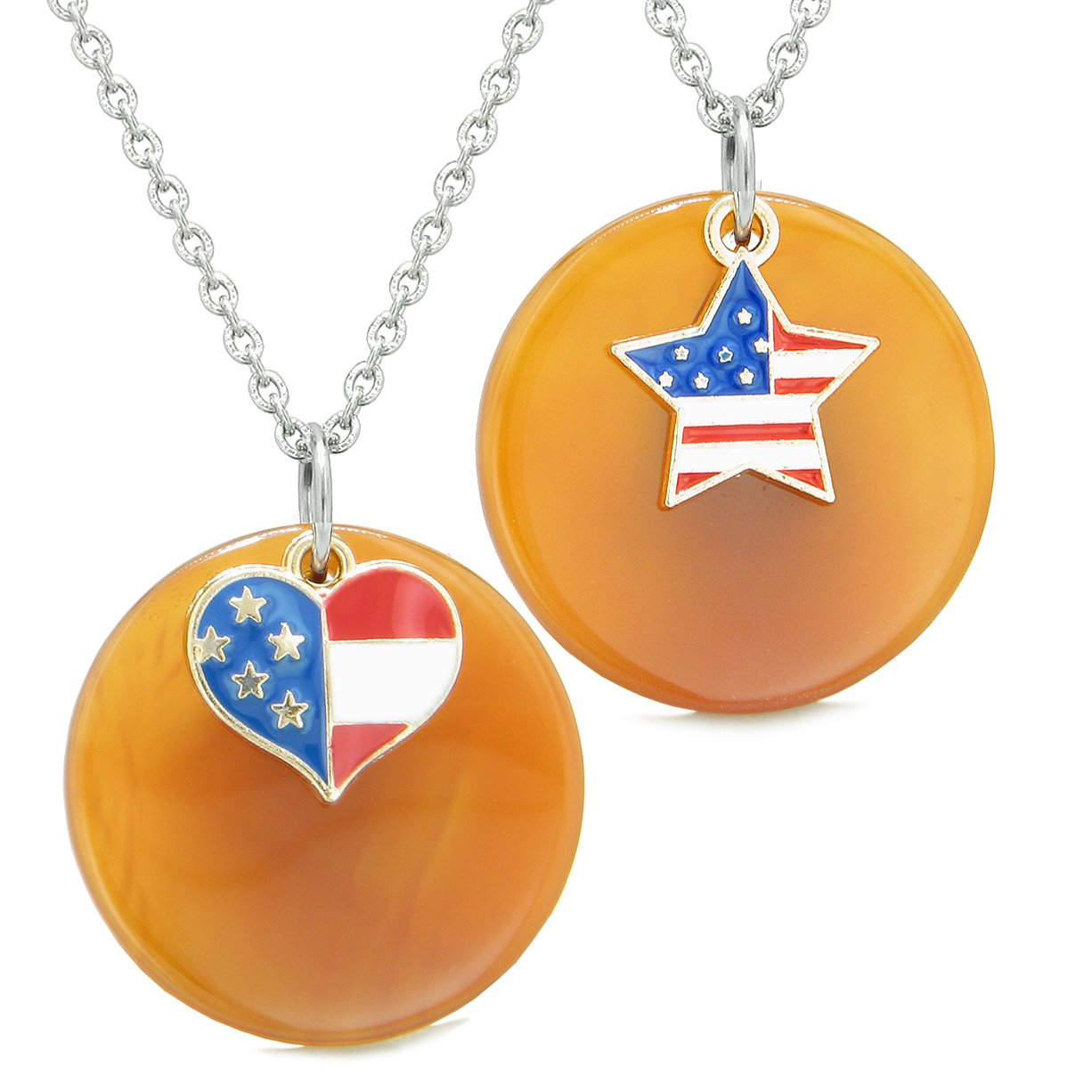 Proud American Flag Super Heart and Star Love Couples or BFF Set Carnelian Amulet Necklaces
