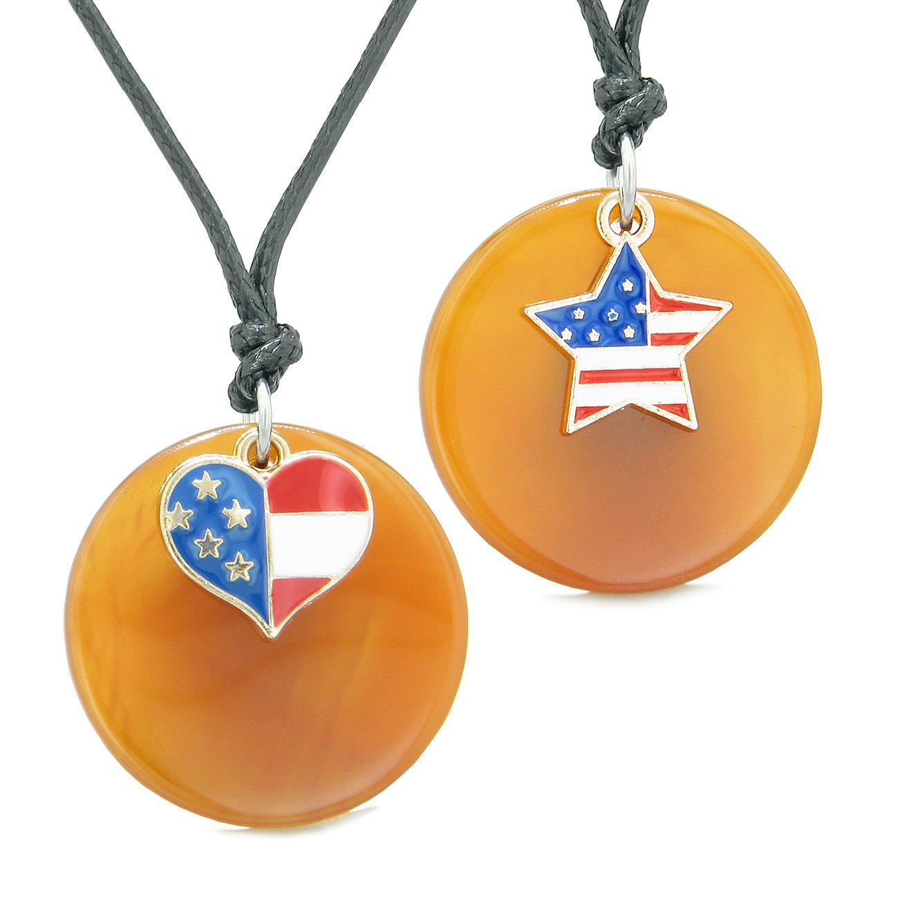 Proud American Flag Super Heart and Star Love Couples or BFF Set Carnelian Amulet Cord Necklaces