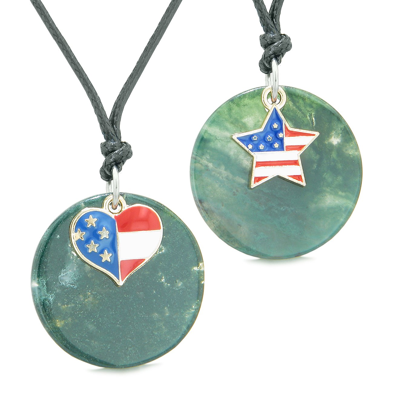 Proud American Flag Super Heart and Star Love Couples or BFF Set Green Agate Amulet Cord Necklaces