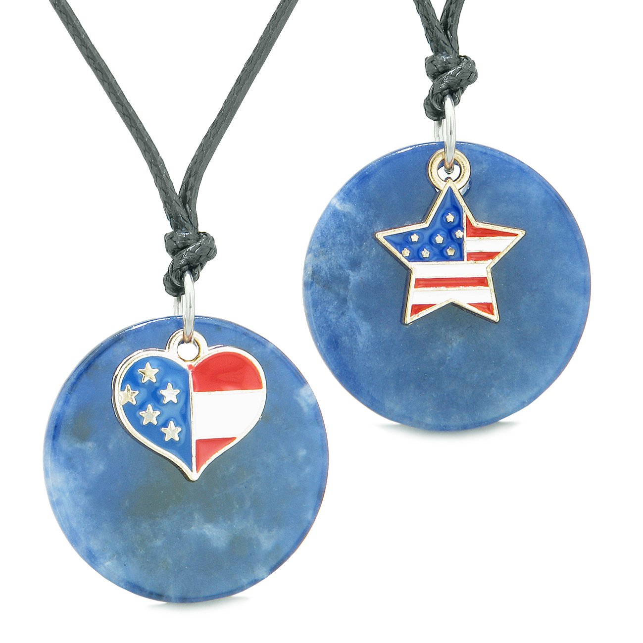 Proud American Flag Super Heart and Star Love Couples or BFF Set Sodalite Amulet Cord Necklaces