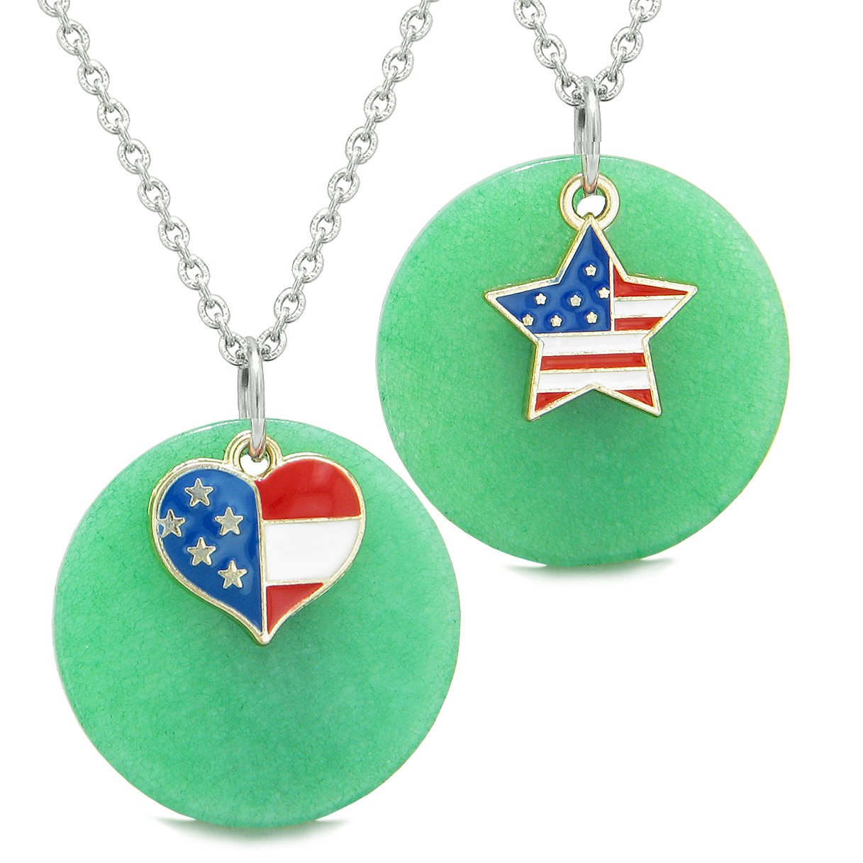 Proud American Flag Super Heart and Star Love Couples or BFF Set Deep Green Quartz Amulet Necklaces