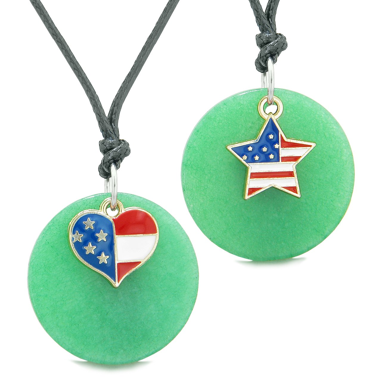 Proud American Flag Super Heart and Star Love Couples or BFF Set Deep Green Quartz Amulet Cord Necklaces