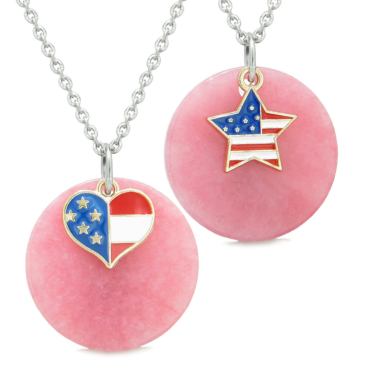 Proud American Flag Super Heart and Star Love Couples or BFF Set Pink Quartz Amulet Necklaces
