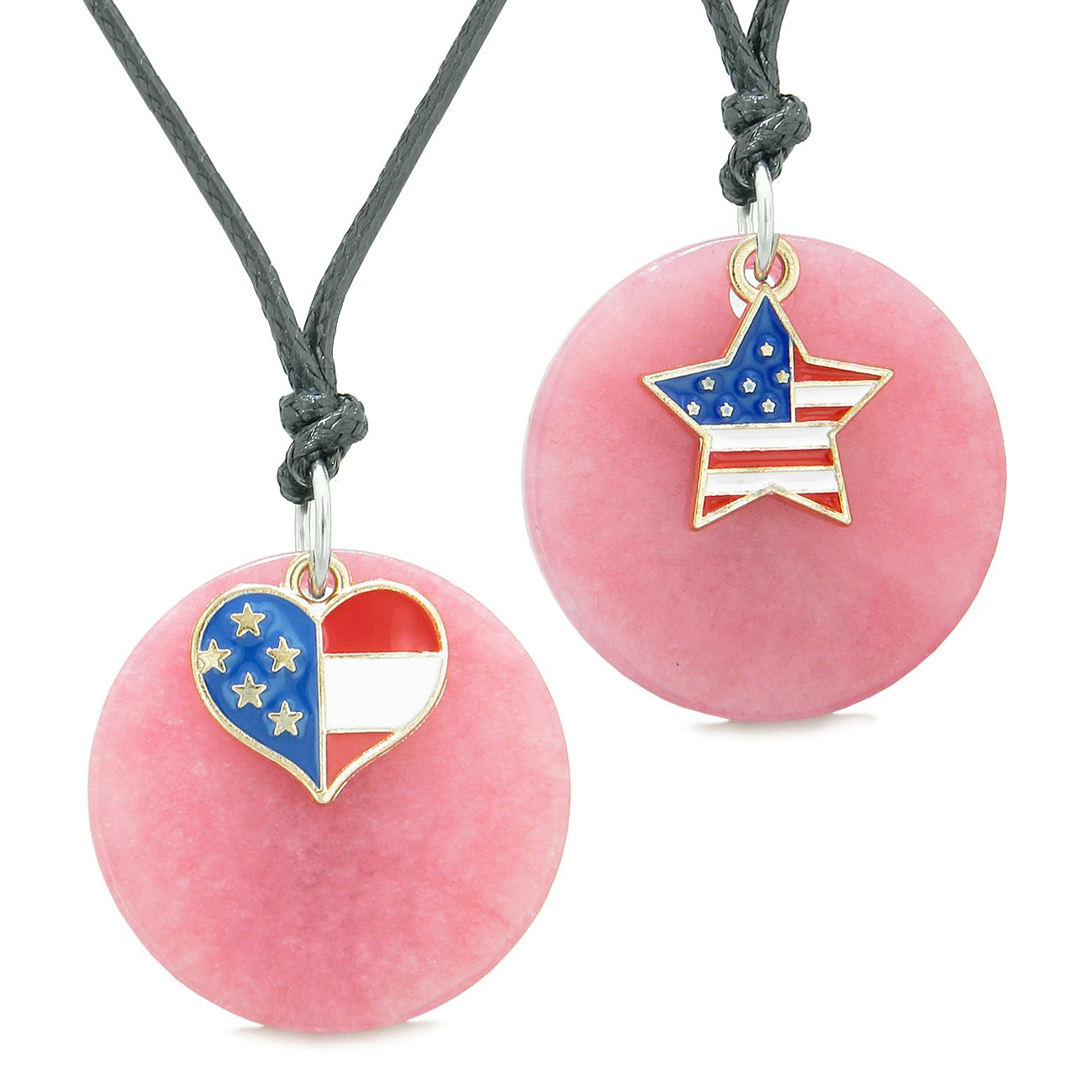 Proud American Flag Super Heart and Star Love Couples or BFF Set Pink Quartz Amulet Cord Necklaces