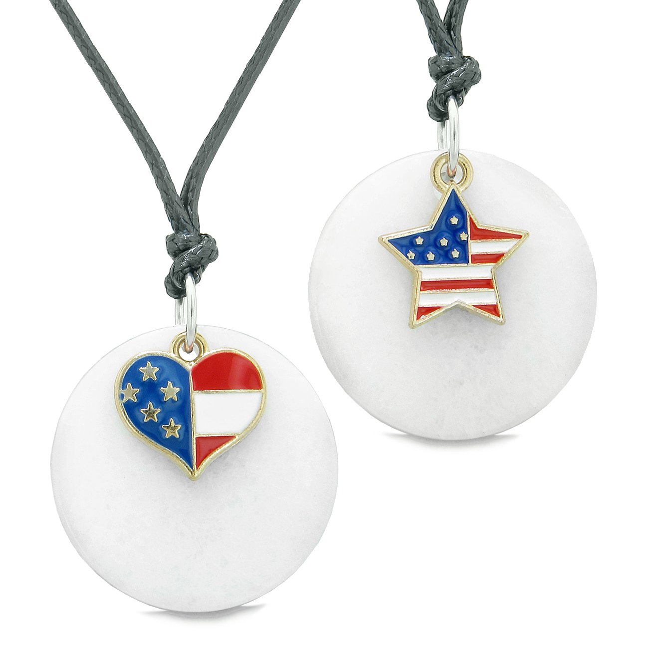 Proud American Flag Super Heart and Star Love Couples or BFF Set White Quartz Amulet Cord Necklaces