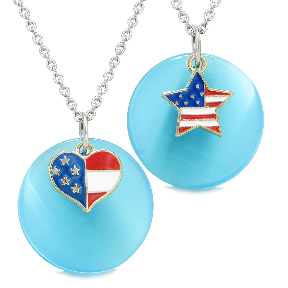 Proud American Flag Super Heart Star Love Couples BFF Set Blue Simulated Cats Eye Amulet Necklaces