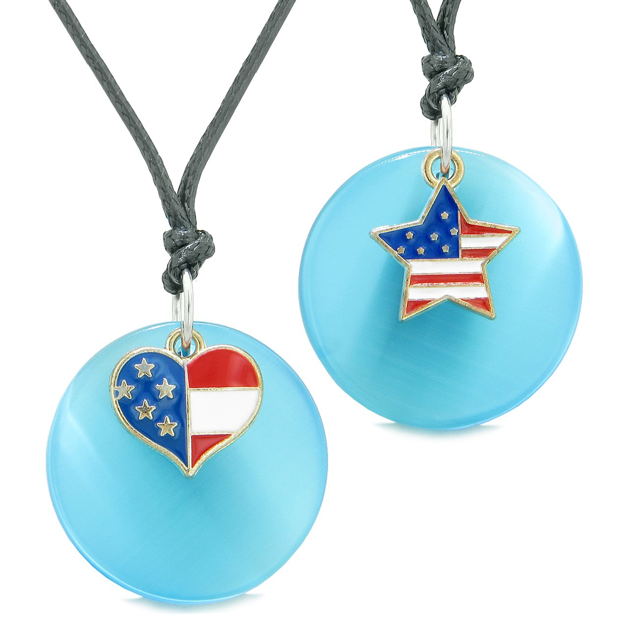 Proud American Flag Super Heart Star Love Couples BFF Set Blue Simulated Cats Eye Amulet Cord Necklaces