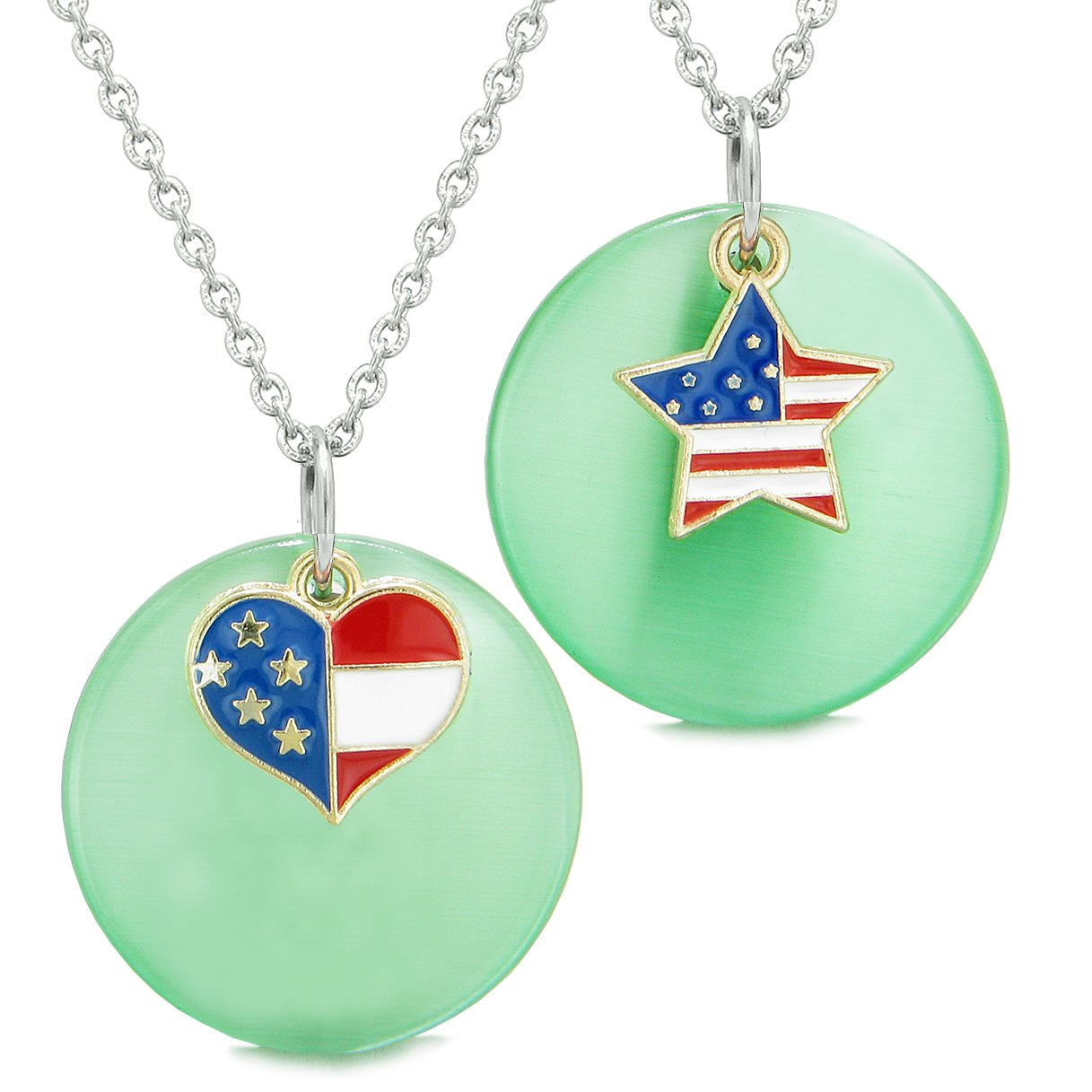 Proud American Flag Super Heart Star Love Couples BFF Set Green Simulated Cats Eye Amulet Necklaces