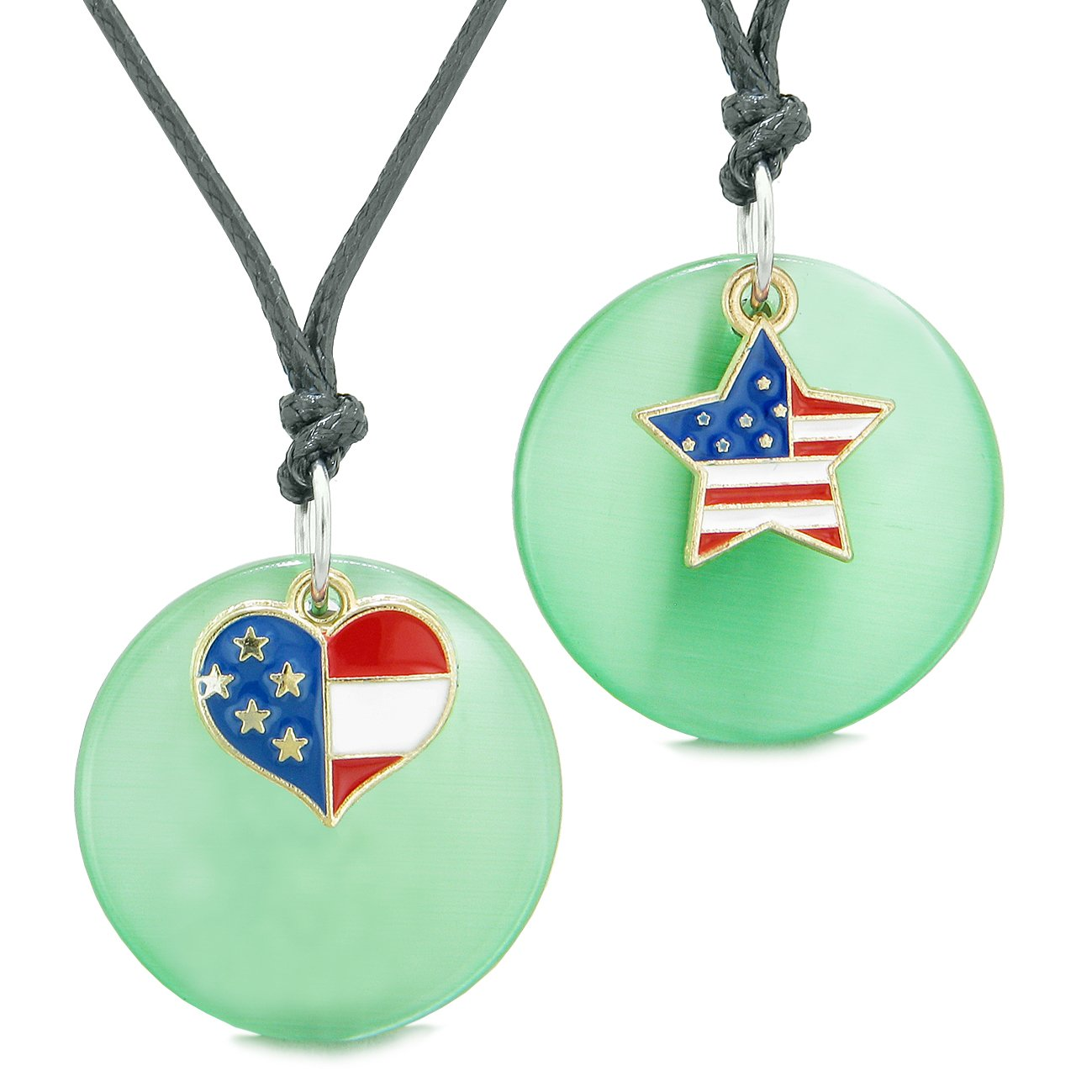 Proud American Flag Super Heart Star Love Couples BFF Set Green Simulated Cats Eye Amulet Cord Necklaces