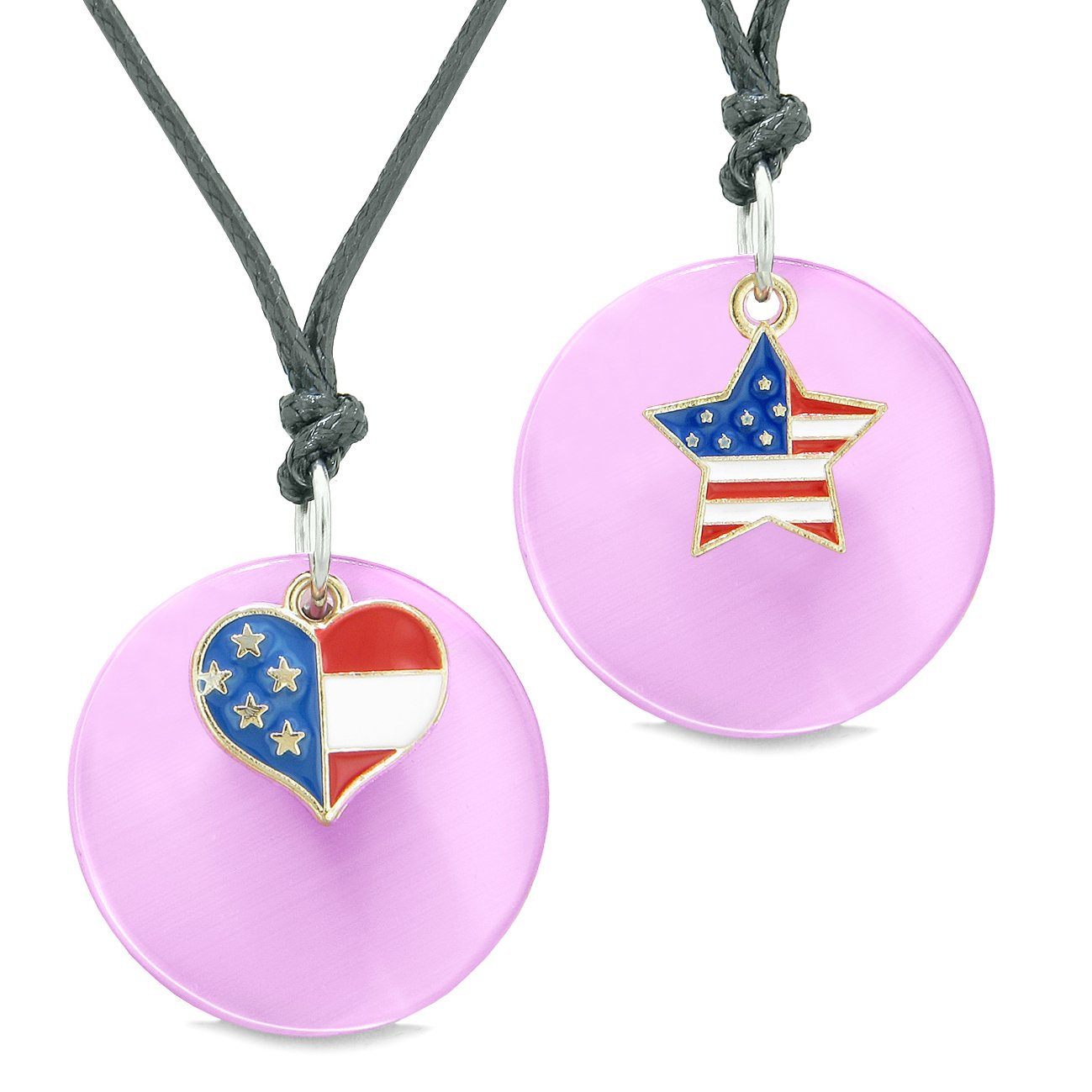 Proud American Flag Super Heart Star Love Couples BFF Set Pink Simulated Cats Eye Amulet Cord Necklaces