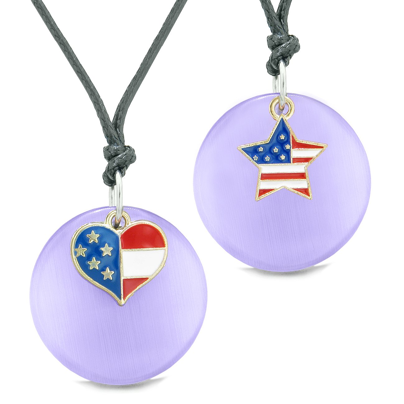 Proud American Flag Super Heart Star Love Couples BFF Set Purple Simulated Cats Eye Amulet Cord Necklaces