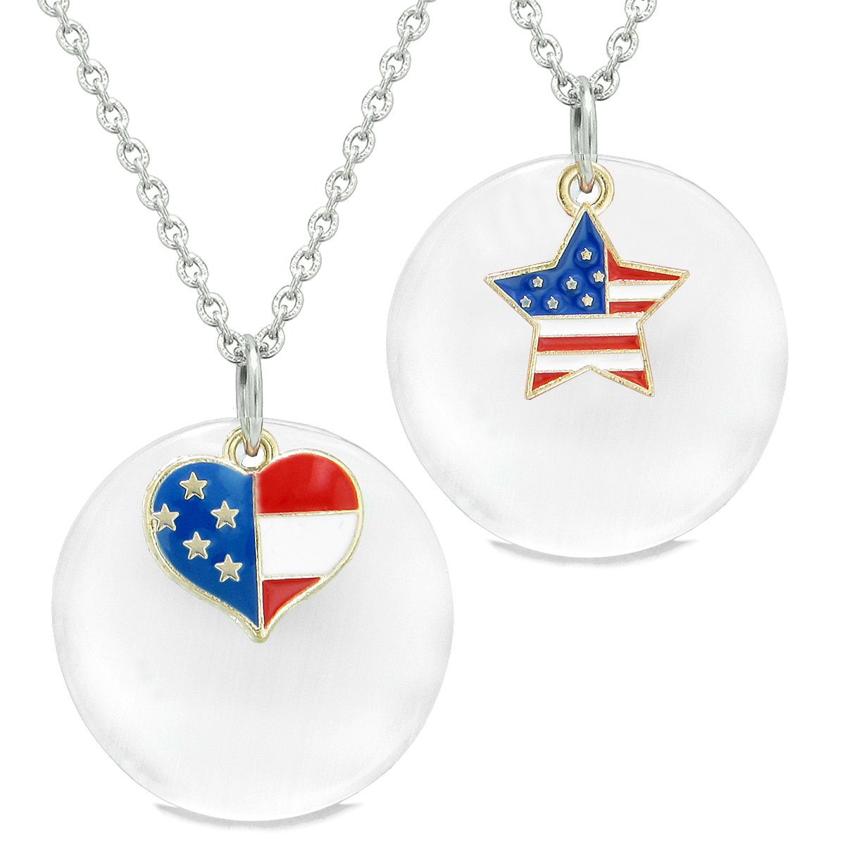 Proud American Flag Super Heart Star Love Couples BFF Set White Simulated Cats Eye Amulet Necklaces