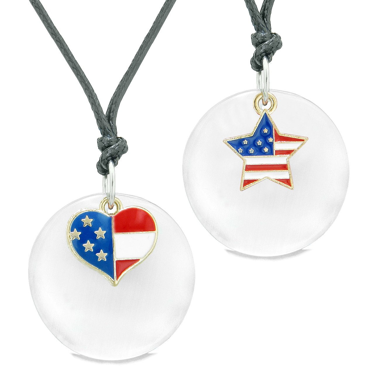 Proud American Flag Super Heart Star Love Couples BFF Set White Simulated Cats Eye Amulet Cord Necklaces