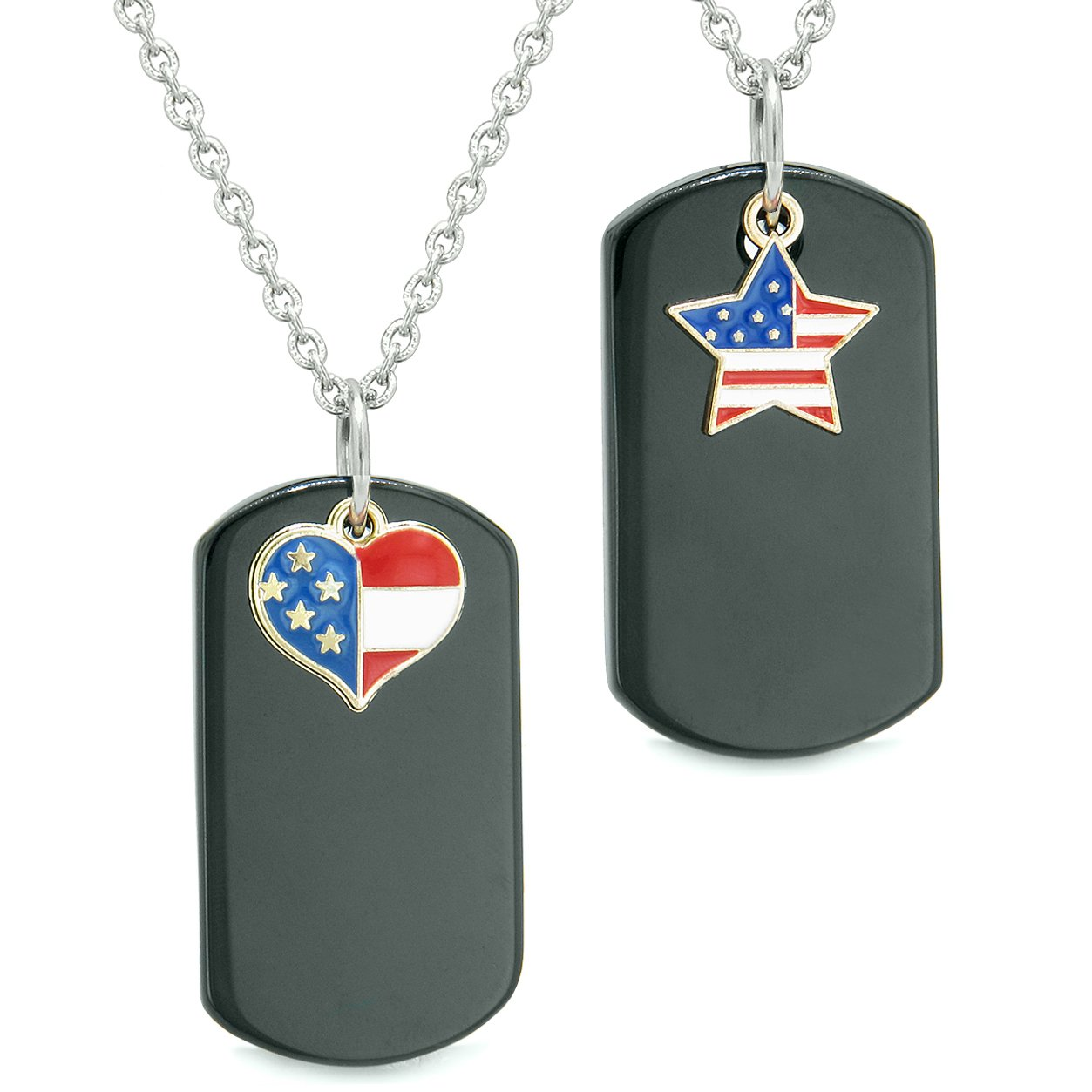 Proud American Flag Super Heart and Star Dog Tags Love Couples BFF Set Black Agate Amulet Necklaces