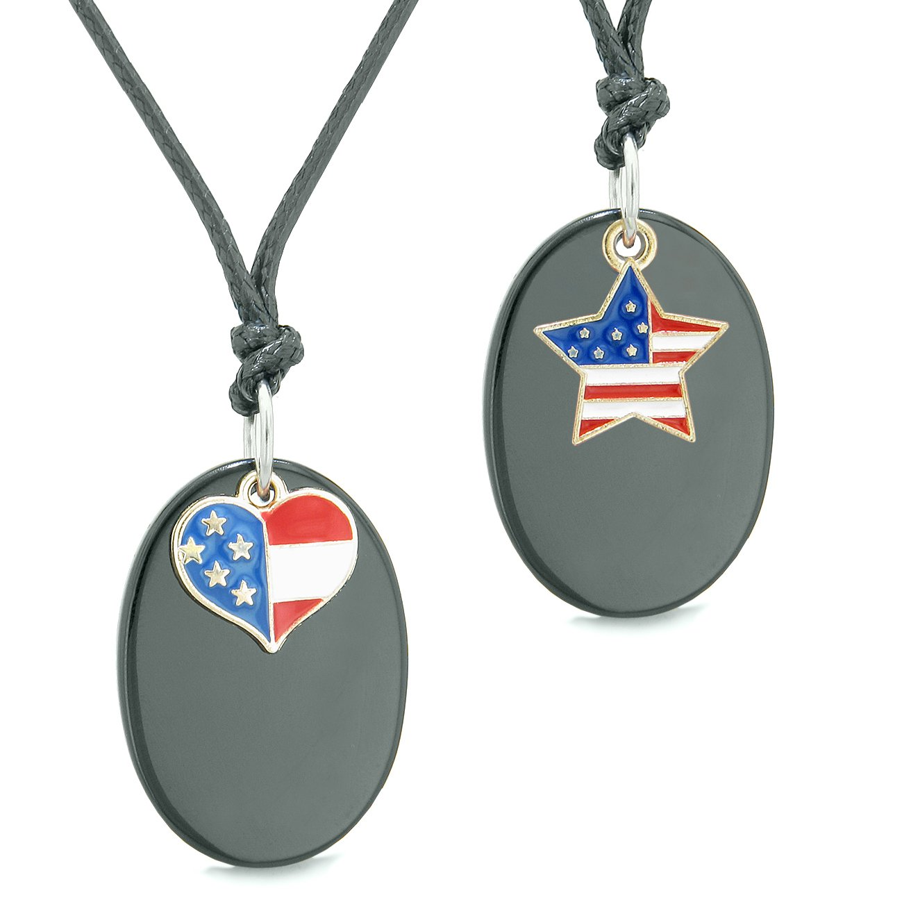 Proud American Flag Super Cute Heart and Star Love Couples BFF Set Black Agate Amulet Cord Necklaces