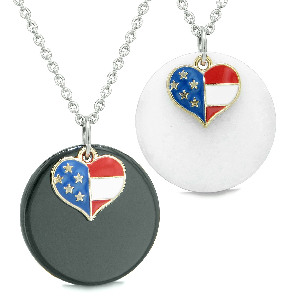 Proud American Flag Super Heart Love Couples or BFF Set Black Agate White Quartz Amulet Necklaces