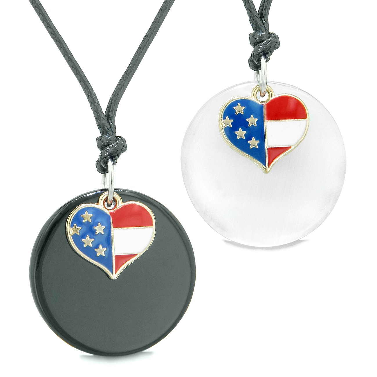 Proud American Flag Super Heart Love Couples BFF Set Agate White Simulated Cats Eye Amulet Cord Necklaces