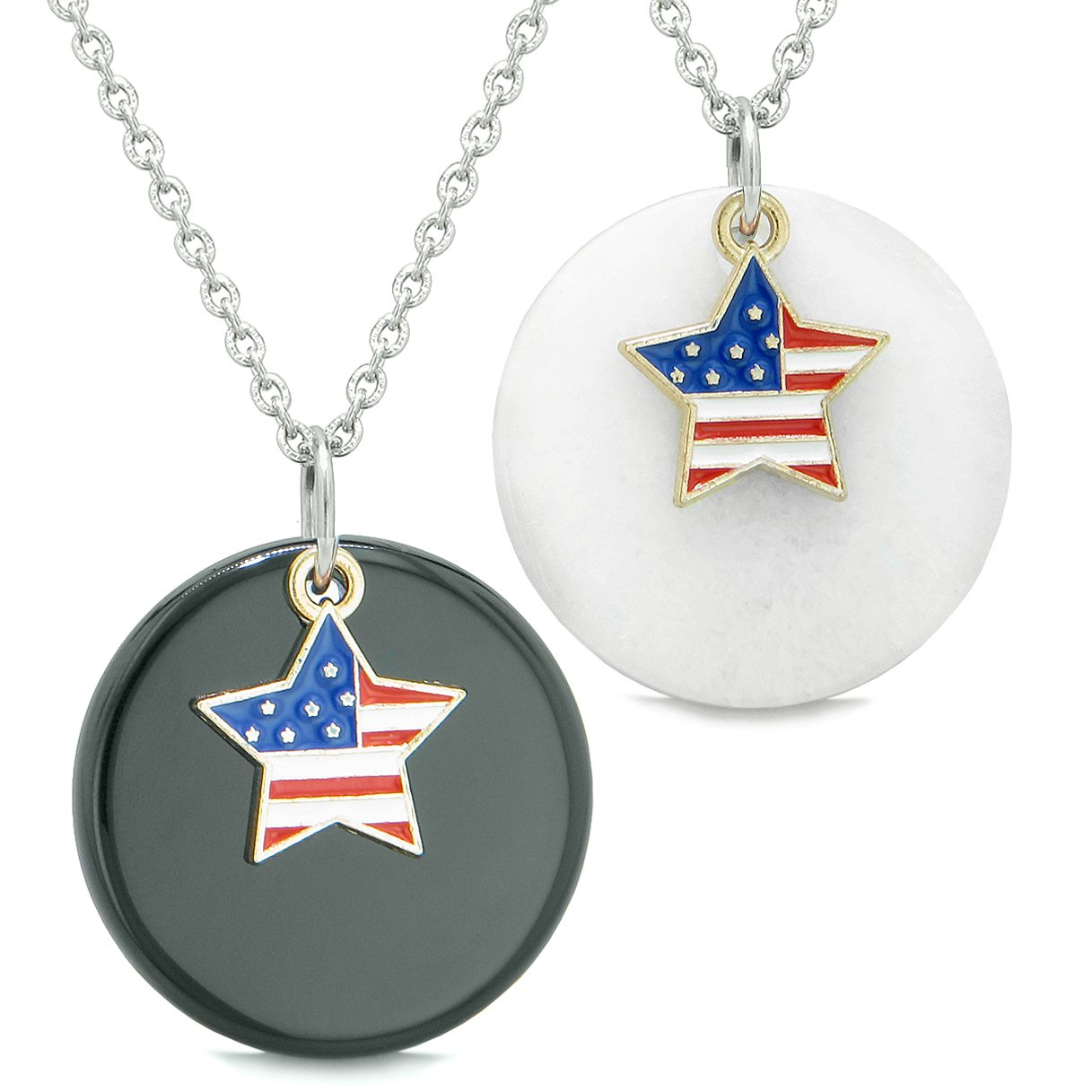 Proud American Flag Super Star Love Couples or BFF Set Black Agate White Quartz Amulet Necklaces