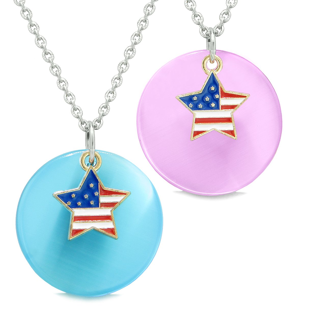 Proud American Flag Super Star Love Couples or BFF Set Blue Pink Simulated Cats Eye Amulet Necklaces