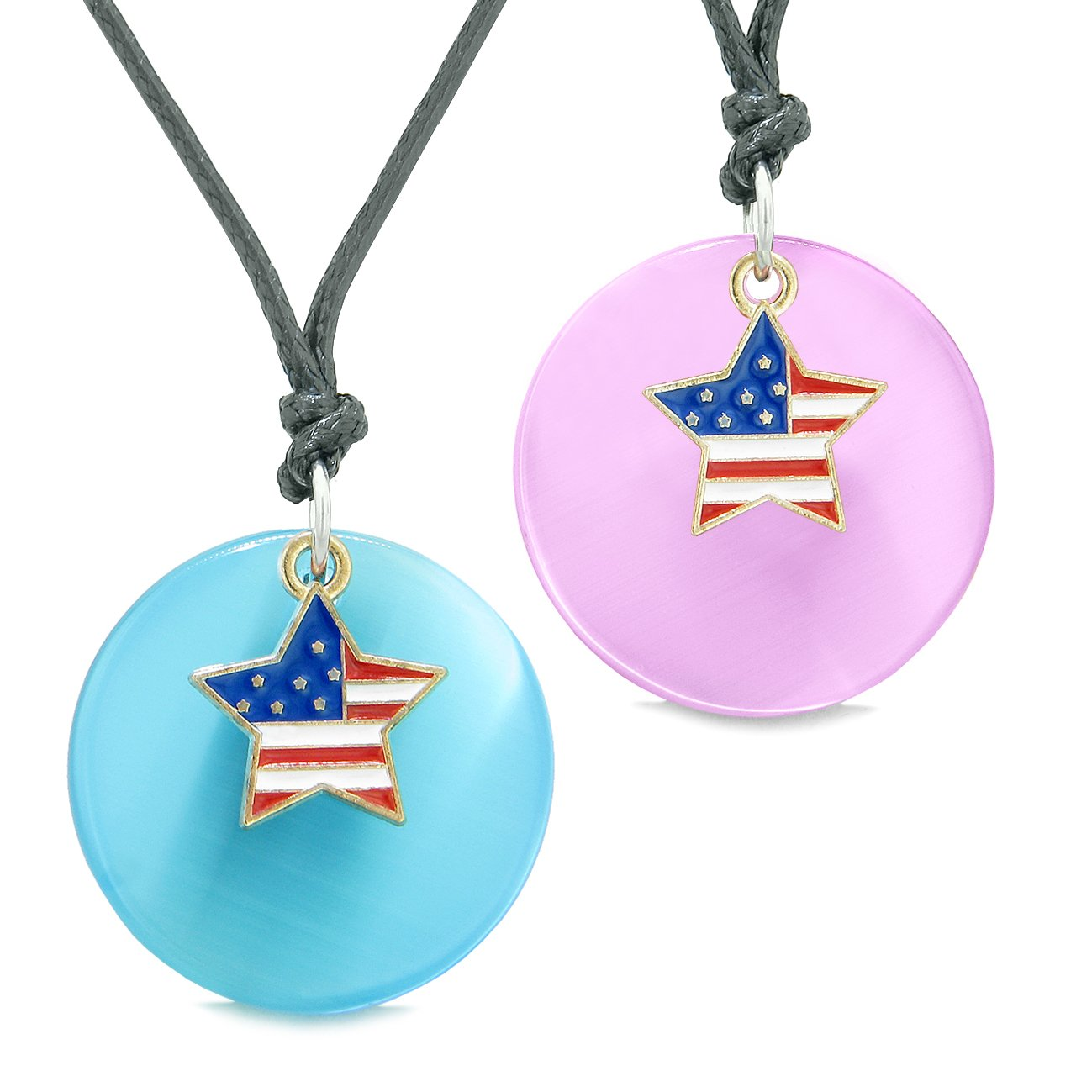 Proud American Flag Super Star Love Couples or BFF Set Blue Pink Simulated Cats Eye Amulet Cord Necklaces