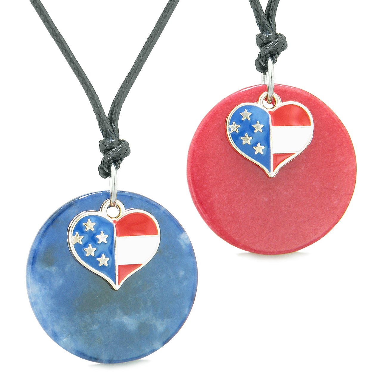 Proud American Flag Super Heart Love Couples or BFF Set Sodalite Red Quartz Amulet Cord Necklaces