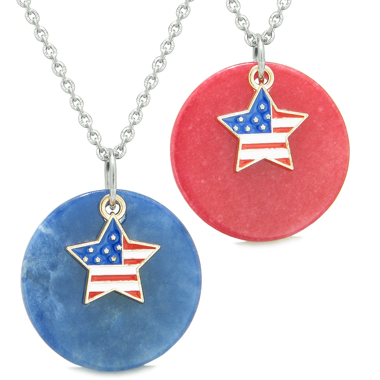 Proud American Flag Super Star Love Couples or BFF Set Sodalite Red Quartz Amulet Necklaces
